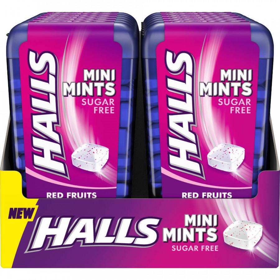 Halls Mini Mints Frutos Rojos 12 unidades